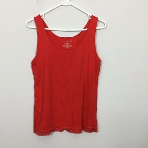 Ann Taylor Size L Orange Lace Trim Tank Top